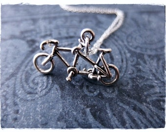 Silver Tandem Bicycle Necklace - Sterling Silver Tandem Bicycle Charm on a Delicate Sterling Silver Cable Chain or Charm Only