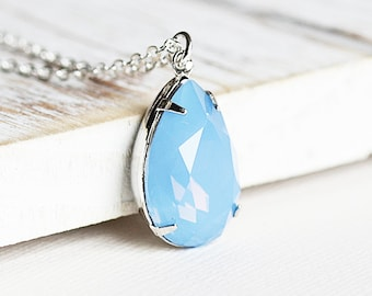 Light Blue Opalescent Rhinestone Teardrop Pendant Necklace on Silver Plated Chain