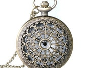 Pocket Fob Watch with Filigree Cage Cover
