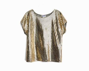 Vintage 90s Metallic Gold Party Blouse / Sparkle Top - women's medium