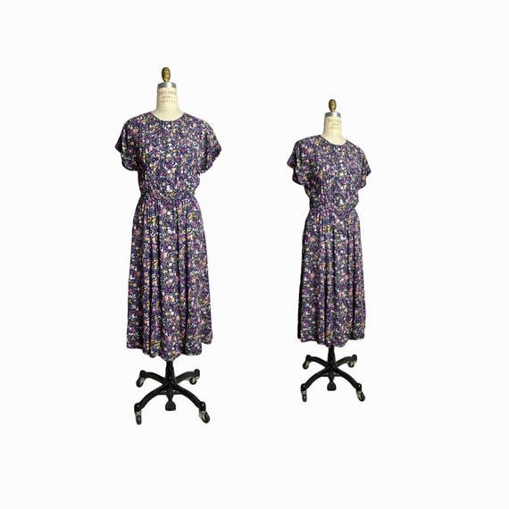 Vintage 90s Blue Floral Sundress / Floral Day Dress / Festival Dress - women's size 6