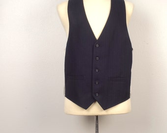 navy blue and gray pinstripe mens wool suit vest groom wedding waistcoat with pockets Medium 42