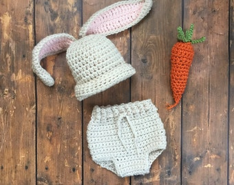 Newborn Easter Bunny Outfit - Bunny Hat - Bunny Ears - Spring Hat - Easter Baby Clothes - Spring Photo Props - Baby Girl Bunny -Diaper Cover