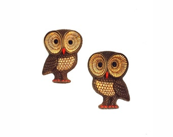 Vintage Owl Wall Hangings / A Pair
