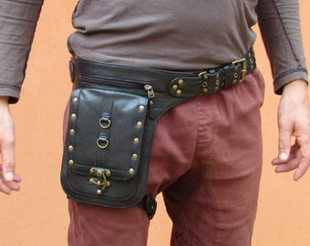 Leather Leg Holster Thigh Bag Utility Belt Steampunk Festival Belt Bag with Pockets in Black HB37a *Free Shipping*
