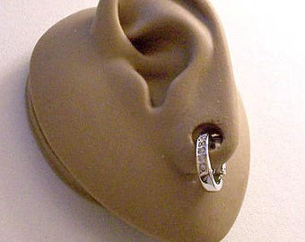 Avon Small Crystal Hoop Clip On Earrings Silver Tone Vintage Oval Drop Shape Smooth Band Dangles