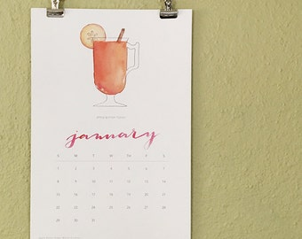 2017 Cocktail Calendar, Illustrated Watercolor Cocktails