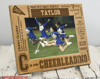 Personalized Cheerleading Picture Frame-Cheerleading Gift-Sports Gift-Wood Engraved-Get your name engraved!
