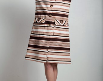 brown striped pocket coat dress vintage 70s matching belted textured double knit poly LARGE L