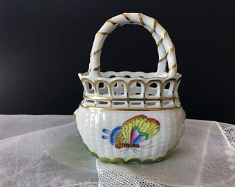 Small Herend Hungary Porcelain Basket Pierced Queen Victoria Easter Decor