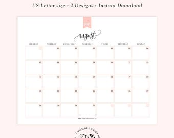 2017 Printable Calendar, Monthly Planner Printable, Month at a glance, INSTANT DOWNLOAD
