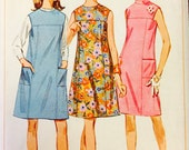 Simplicity 7080 - Size 14 Bust 34 - 1967 Misses One Piece Dress Pattern - Patch Pockets - A-line dress with Round Neckline - Sewing Pattern