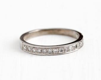 Vintage 14k White Gold .30 CTW Diamond Wedding Band Ring - Mid Century 1950s Size 7 Bridal Engagement 15 Stone Fine Jewelry