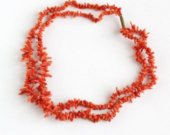Sale - Vintage Genuine Branch Coral Gem Double Strand Necklace - 1940s Organic Gemstone Unique Layered Graduated 18 Inch Statement Jewelry