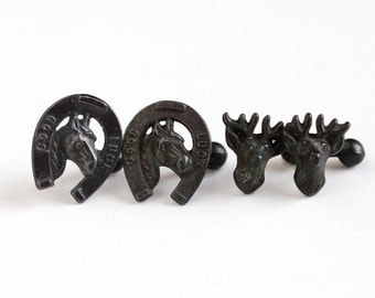 Sale - Antique Stag Deer or Good Luck Horseshoe Cufflinks - Victorian 1900s Men's Black Tone Figural Ball Back Cuff Links Jewelry Accessory