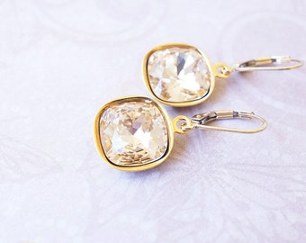 Earrings, Gold Earrings, Crystal Earrings, Silk Earrings, Cushion Cut Earrings, Dangle Earrings, Drop Earrings, Handmade Earrings, Gift