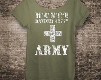 Game of Thrones Shirt MANCE RAYDER ARMY Shirt. Off The Shoulder Slouchy shirt. Mash 4077 Shirt and Jon Snow Shirt Wildling Shirt.