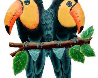 Metal Art, Toucan, Hand Painted Metal Tropical Parrot Wall Decor - Garden ARt,  Haitian Art, Metal Wall Art - Tropical Garden Decor - K7021
