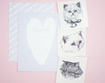 "Temporary ""Cat Tatts"" Tattoos - Set of three cool fake cat tatts quick cattoos waterproof non toxic tats for kids Grumpy kitty festival fun"