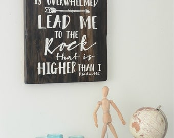 Lead me to the Rock reclaimed wood sign