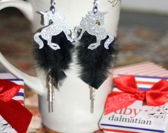 Glitter unicorn black feather tassel chain freedom faith sterling earrings