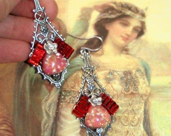 Vintage Red glass gothic etruscan arthurian camelot silver goddess earrings