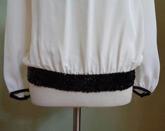 """Vintage Diversity Cream Long Sleeved Blouse with Black Sequin Waistline and Black Piping Along Collar & Sleeve Edges Bust 39"""" Waist 31-36"""""""