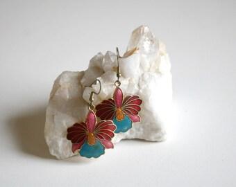 Orchid Enamel Drop Earrings