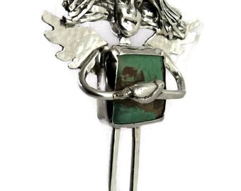 Angel Bella Has A Bird Perched In Her Soul - Up Cycled Sterling Silver, Turquoise, And PMC - Women - Strength - Art Jewelry Pendant - 1542