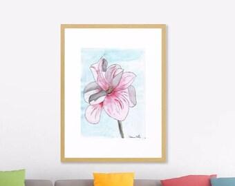 Magnolia Bloom Art Print Original Watercolor Artwork, Spring Flower Watercolor Original Art Print,   Modern Art Home decor, Abstract Art