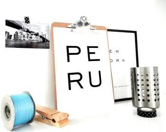 Peru Printable Art Print, Peru Poster, Minimal Wall Art, Machu Picchu, Travel Poster, Typography Art Print, Amazon, Lima Print, PDF & JPG