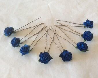 Royal Blue/Cobalt Rose Hair Pins x 8. Paper. Wedding, Bridal, Regency, Victorian