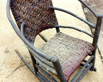 Antique Old Hickory Barrel Back Rocker, Early Adirondack Chair, Hickory Bark Woven Chair, Arts and Crafts Chair, Rustic Furniture