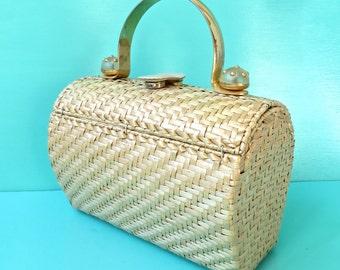 Vintage 1960's/Rodo/Natural Wicker Barrel Purse/Gold Metal Top Handle/Natural Woven Wicker Basket Purse/Large Wicker Top Handle Purse