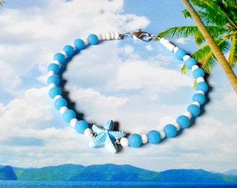 Turquoise white beaded starfish anklet, beach ankle bracelet