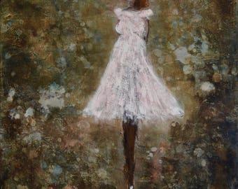 Abstract Figure Painting Ballerina Ballet Dancer Fairy Angel Dreamy girl Let's Dream 24x20