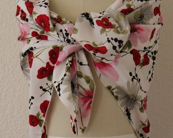 Floral Print Satiny Square Scarf Extra Large