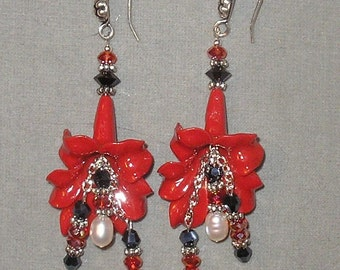 Deep Red & Black Bold Floral Earrings