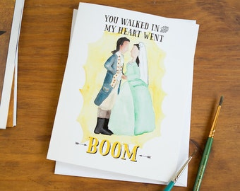 Hamilton Greeting Card You Walked In And My Heart Went BOOM   Anniversary  Card   Wedding
