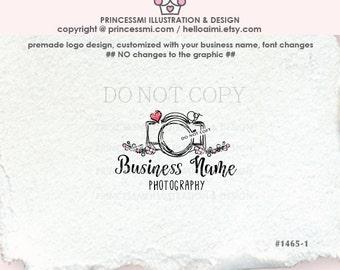 1465-1 camera logo, Photography logo, photographer logo, Premade Logo Design, cute camera and flowers design, watermark, business logo