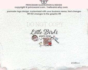 1191-1  YARN Logo Design, ball of yarn logo, crochet logo, hook heart business logo, handmade shop logo, by princessmi