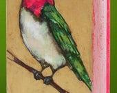 anna's hummingbird original a2n2koon textured hummingbird bird on branch painting on irregularly shaped reclaimed wood pink green gold art