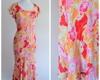 1930s style bias cut fishtail hem dress / 30s look printed orange red pink day dress - S M