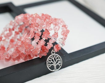Cherry Quartz Wrap Bracelet, Memory Wire Bracelet, Beaded Bracelet, Tree of Life Bracelet, Boho Bracelet, Wrap Bracelet, Pink Bracelet