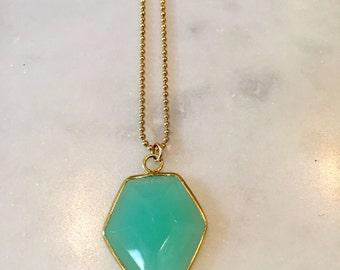 Aqua Chalcedony Gemstone Charm Necklace