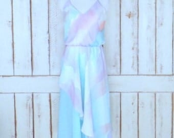 Vintage sheer light blue/lavender pastel watercolor print sleeveless asymetrical hem midi dress/small