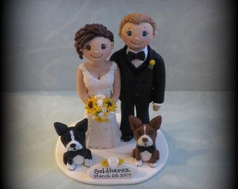 Wedding Cake Topper, Custom, Personalized, Polymer Clay, Bride and Groom, Boston Terrier, Date Plaque, Wedding/Anniversary Keepsake