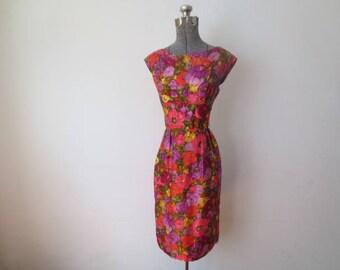 Vintage '50s/'60s Mort Schrader, Marshall Fields Floral Silk Sleeveless PinUp Dress, 36 Inch Bust