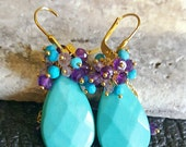 Spring Sale 15% Turquoise Gemstone Earrings Amethyst and Turquoise Cluster Dangle Earrings December Birthstone Gift for Her