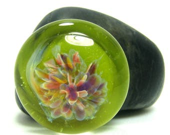 Lampwork Glass Cabochon - Lime Green Floral Design - Jewelry Making Supply